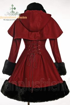 Classic Gothic Lolita: Heavy Wool & Fur Coat with Hood Cape - Back