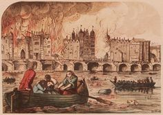 People flee the Great Fire of London in 1666 by rowing across the Thames.