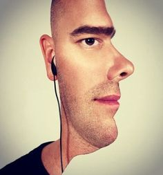 26 Images That Will Break Your Brain. Some of these are seriously insane! Does nobody get the face guy? Its just half of a face with cut out edges to look like a side view. Its really quite amazing.