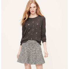 LOFT Curvy Fit Tweed Flippy Skirt