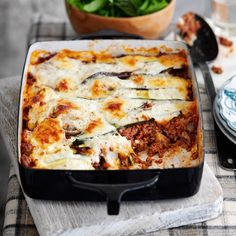 aubergine and courgette lasagne - pasta free