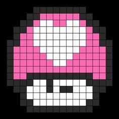 Heart mushroom perler bead pattern | SUPER MARIO: MUSHROOM | Pinterest