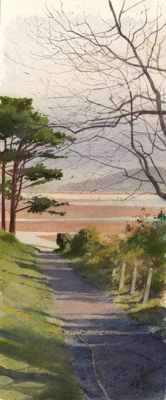 Path to Borth Y Gest, an original watercolour painting by Rob Piercy by melba Watercolor Painting Techniques, Watercolor Landscape Paintings, Watercolor Pictures, Landscape Art, Watercolor Art, Art Aquarelle, Pictures To Paint, Art Sketchbook, Scenery