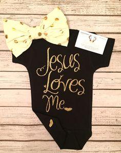 Baby Girl Clothes Girl Bodysuit Jesus Loves Me Bodysuit For