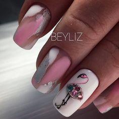 The Most Beautiful Flamingo Nail Art Designs - Nails C Trendy Nail Art, New Nail Art, Stylish Nails, Get Nails, Pink Nails, Flamingo Nails, New Nail Designs, Manicure E Pedicure, Super Nails