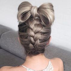 Upside Down Braid With A Bow Updo