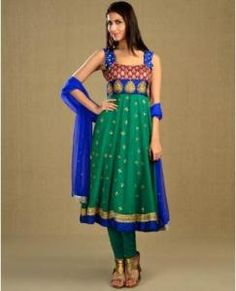 Emerald Green and Royal Blue Kalidar Suit with Sequined Dupatta