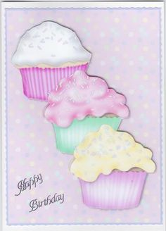 Cupcake Birthday Quick Card Front with Decoupage on Craftsuprint created by Susan Cummings - I cut the main image using a fancy blade, then attached it to white card.  The cakes have been added using foam pads.  The greeting is a silver peel off.