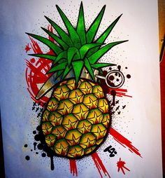 "20 Likes, 1 Comments - Travis Racine (@travicimo) on Instagram: ""Pineapple grenade fresh style #newschool #tattooapprentice #tattoos #art #drawing #pineapple…"""