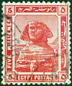 EGYPT - CIRCA 1914: A stamp printed in Egypt shows the Great Sphinx of Giza, circa 1914.