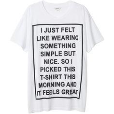 Monki Aylin tee ($17) ❤ liked on Polyvore featuring tops, t-shirts, shirts, tees, wondrous white, oversized tops, shirts & tops, t shirts, white shirt and white t shirt