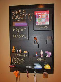 Craft Organizer Black Chalkboard Wall-mounted Pockets and Hooks