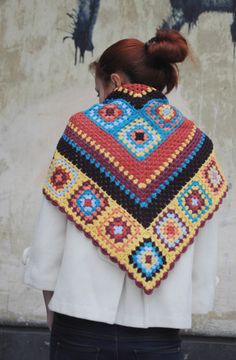 Crochet shawl triangular scarf granny square shawl crochet scarf spring accessory multicolor scarf gift for her  by:-Nastiin