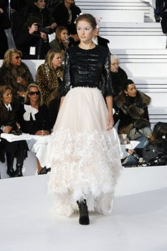 Karl paired ladylike separates with ethereal party pieces. #chanel