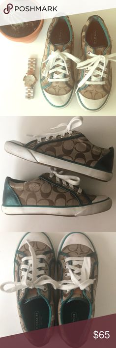 Coach 'Barrett' Sneakers Cute & casual Coach Sneakers! Amazing condition only worn a handful of times. So sad to let these guys go just don't wear them enough! Coach Shoes Sneakers