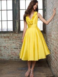 Princess-Linie V-Ausschnitt Tee-Länge Abendmode Gelb Taft