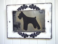Schnauzer dog antiqued mirror from www.BusterJustis.Etsy.com #shabby #chic #home #decor