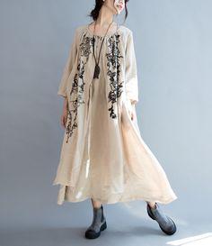 3d71564f4d 4 colors 100% linen loose maxi dress