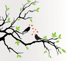 I would paint this on my living room wall, but with blue leaves and ochre birds.  Maybe orange music notes instead of the hearts.