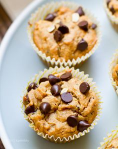 Peanut Butter Chocolate Chip Muffins. Quite healthy- I've made them twice and they disappear so quickly. Yum!