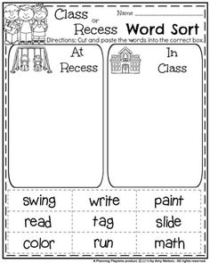 First Grade Literacy Worksheets for Back to School - Class or Recess Word Sort. 7th Grade Math Worksheets, Probability Worksheets, Back To School Worksheets, Social Studies Worksheets, First Grade Activities, Teacher Worksheets, Adjective Worksheet, Reading Activities, Printable Worksheets