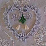 Dekorácie - Vianočná dekorácia - biele srdce  - 7441009_