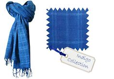 Indigo dyed scarves and shawls, made from hand spun and hand woven cotton khadi in Bangladesh for Chandni Chowk - ethical fashion