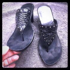 "Nurture Sandals  Black leather with suds, 3"" heel. Very comfortable sandal. Nurture Shoes Sandals"