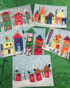 Kindergarten collage winter houses Originally posted by Sonja Einerson on faceb. Winter Art Projects, Winter Crafts For Kids, Art For Kids, Winter Ideas, Kindergarten Collage, Winter Art Kindergarten, Kindergarten Activities, Classe D'art, January Art