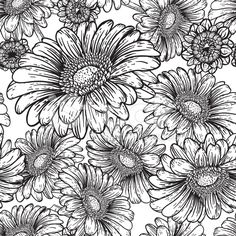 View top-quality illustrations of Botanical Flowers Seamless Gerbera Dasiy Pattern. Find premium, high-resolution illustrative art at Getty Images. Flower Coloring Pages, Colouring Pages, Coloring Books, Gerbera, Line Art Flowers, Flower Drawing Tutorials, Colored Pencil Techniques, Art Folder, Painting Gallery