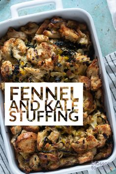 Fennel and Kale Stuffing (or dressing). Toasty bread tossed in olive oil along with sauteed fennel and kale with leeks and shallots and lots of herbs. Thanksgiving Cakes, Thanksgiving Stuffing, Thanksgiving Ideas, Cheap Clean Eating, Clean Eating Snacks, How To Cook Kale, Best Vegetarian Recipes, Stuffing Recipes, Savoury Cake