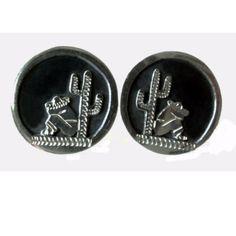 Vintage Sterling Silver Cufflinks Man & Cactus Mexico Signed JS | AestheticsAndOldLace - Jewelry on ArtFire