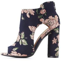 Qupid Floral Cut-Out Ankle Booties ($30) ❤ liked on Polyvore featuring shoes, boots, ankle booties, multi, block heel booties, floral embroidered boots, qupid booties, cut out booties and chunky booties