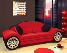 So cool a race car sofa for a Man Cave sure to please and be a real conversation starter!