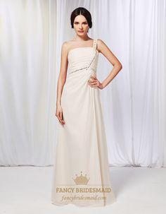 Champagne Chiffon Bridesmaid Dress, One Shoulder Draped Prom Dress, Chiffon One Shoulder Beaded Prom Dress