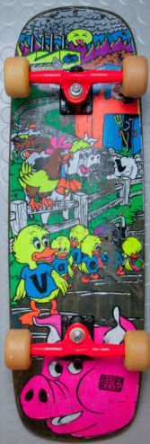 DECK OF THE DAY   WORLD INDUSTRIES   MIKE VALLELY   ART BY MARC MCKEE Nice survivor complete with neon gullwings!