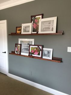 How to make and stain DIY Shallow Shelves - Bower Power #PhotoWall