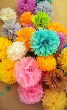 Tissue paper pom-pom flowers, Bryan can make these! Crafts For Kids To Make, Diy And Crafts, Paper Crafts, Paper Pom Poms, Tissue Paper, Valentines Day Coloring, 90th Birthday Parties, Mother's Day Diy, Painting For Kids