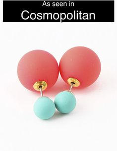 Coral & Turquoise Double-Sided Earrings (As seen in Cosmo)