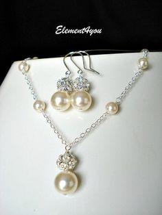 Wedding Jewelry Set, Bridal Pearl Jewelry Set. Earrings Necklace Set. Vintage Style Wedding Jewellery Set. Pearl Rhinestone Bridal Set Ivory. $38.75, via Etsy.