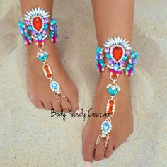 Multi Color Crystals Barefoot Sandals for Weddings. Elegant Boho Beach Wedding Foot Jewelry. A Unique Accessory Beach Feet Jewelry Weddings. Can Purchase One Barefoot Sandal or One Pair. Custom Design