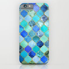 Cobalt Blue, Aqua & Gold Decorative Moroccan Tile Pattern iPhone & iPod Case by Micklyn - $35.00