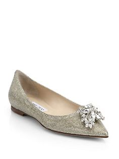 Jimmy Choo - Gayne Jeweled Point-Toe Flats - SAKS $895.00
