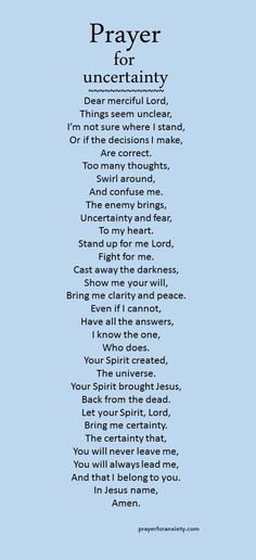 When you are doubting or confused you can pray this prayer for uncertain moments. Want more clarity in your life? Then pray for it. Our complete list of prayers. Ask for prayer This prayer for unce… Prayer Scriptures, Bible Prayers, Faith Prayer, My Prayer, Prayer For Work, Prayer For Health, Prayer Ideas, Prayer For Peace, Prayer Room