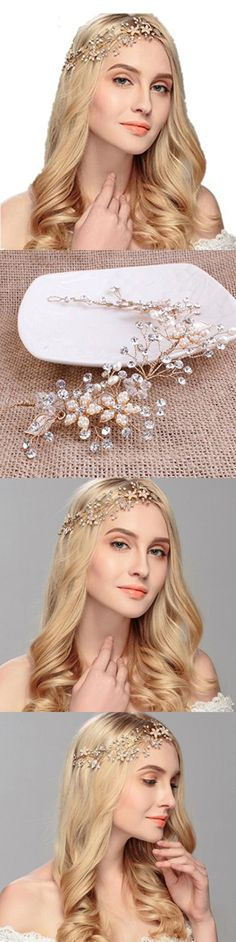 Xugq66 Crystal Rhinestones Wedding Head Band Bridal Hair Accessorie Headpieces (Gold)