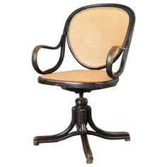 Swivel Office Chair by Gebrüder Thonet, Vienna | From a unique collection of antique and modern armchairs at https://www.1stdibs.com/furniture/seating/armchairs/