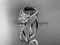 Platinum diamond Cherry Blossom flower, Sakura engagement ring Black Diamond VD8088