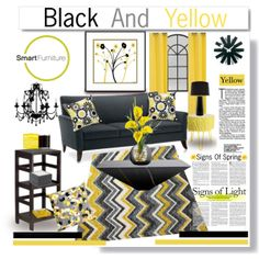 """""""Spring Time Yellow and Black"""" by truthjc on Polyvore Black and Yellow Living Room"""