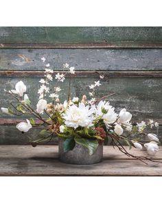 Distinctive Magnolia & Dahlia Silk Flower Centerpiece at Petals. Silk Floral Arrangements, Wedding Flower Arrangements, Wedding Flowers, Gerbera Wedding, Silk Flower Centerpieces, Succulent Centerpieces, Magnolia Centerpiece, Wedding Centerpieces, Centrepieces