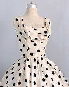 vintage 1950s silk polka dot dress l Ceil Chapman l by PickledVintage